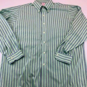 Brooks Brothers Mens Oxford Shirt Green Blue